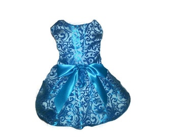 Dog Dress,  Dog Clothing, Dog Wedding Dress, Pet Clothing, Teal Brocade