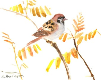Sparrow and Fall, Original watercolor painting, 12 X 9 in, sparrow wall art, birds, yellow brown minimalist bird painting
