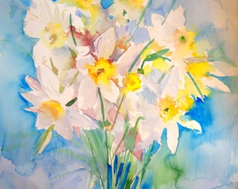 Daffodils Painting, LArge watercolor painting, 22 X 15 in, yellow blue white bright wall art, floral