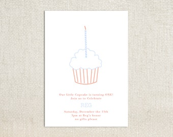 First birthday single candle cupcake birthday party invitations
