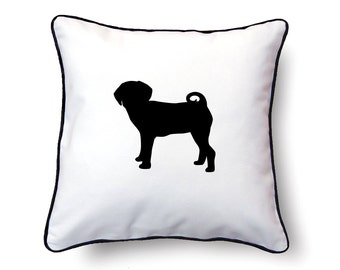 Puggle Pillow 18x18 - Puggle Silhouette Pillow (Version 2) - Personalized Name or Text Optional