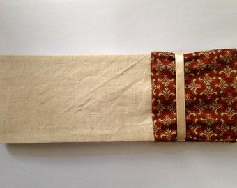 Checkbook in organic cotton linen copper (traditional format)