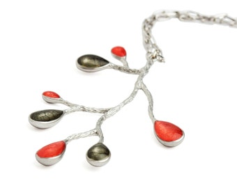 Good Christmas Gifts,Branch and Leaf Necklace, Silver Red Necklace, Red Enamel Necklace, Black Necklace, Nature Jewelry, Xmas Gift Ideas Her