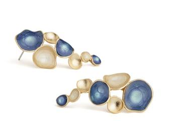 Shimmering Blue & Ivory Cream Tree Branch Earrings, Fine Jewelry Earrings Formal Event, Handpainted Blue Artesian Earrings, Bridal Earrings