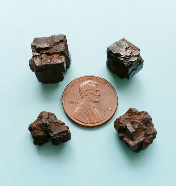 Limonite after pyrite pseudomorph rock specimens, set of 4