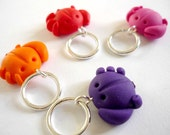 Crab knitting stitch markers, snagless knitting, sculpted polymer clay, snagfree - UK seller