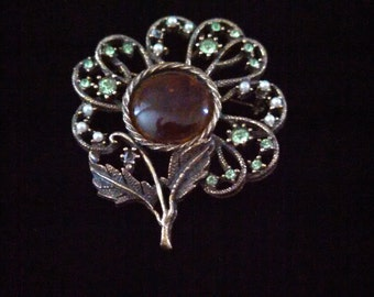 Vintage Large Rhinestone and Glass Signed Cathe Tree of Life Brooch AS IS #MM107
