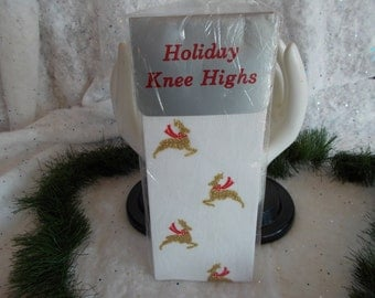 Vintage Christmas Deer Knee Highs
