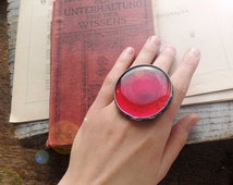 ruby red ring, gift for her, love, red ring, statement ring, RED ring , gift for her, fused glass, cocktail ring,  MARIAELA