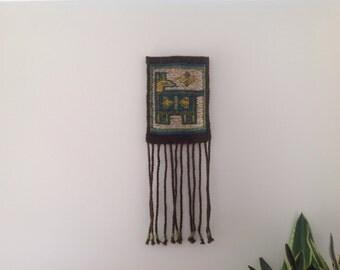 Vintage Polish Kilim Tapestry Wall Hanging