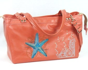 Coral Leather Handbag - Beach Tote - Salmon Leather Satchel for Women - Genuine Leather Tote