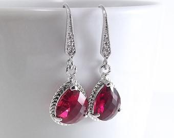 Fuchsia Glass Pendant Silver Teardrop Earrings