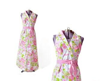 Estevez Dress /  60s Floral Dress / Maxi Dress / Floral Dress / Print Dress / Women Dresses Day / Vintage Clothing Dresses