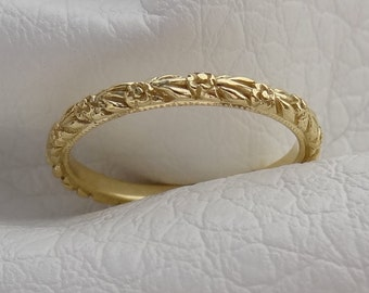 Thin 2 mm Carved Flower Wedding Band 18k Solid Yellow Gold Ring