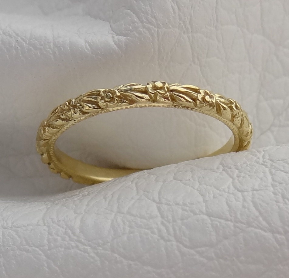 14k Yellow Gold High Polished 2mm Traditional Milgrain: Thin Antique Carved Flower Wedding Band With Milgrain 2mm Wide