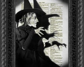 Wicked Witch Dictionary Art Print, Wizard of Oz Halloween Decor Printed On An Upcycled 1897 Dictionary Page Party Decor