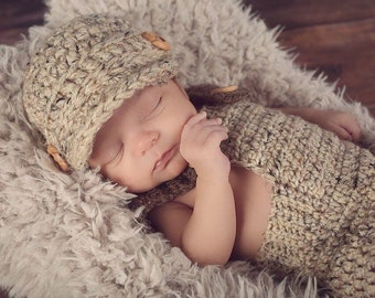Ready-to-Ship Baby Boy Newsboy Cap in Oatmeal Tweed, Infant Boys, New Baby Gift or Photo Prop, Size Newborn (5.5-8.5 lbs)