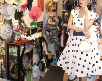 50s style polka dot dress in black and white cotton .