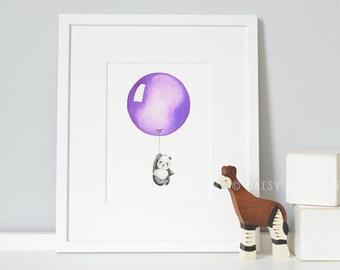 Purple Balloon, Nursery Art, Children's Print, Kid's Wall Art, Modern, bright, Girl's Bedroom, Christening Gift, for Baby