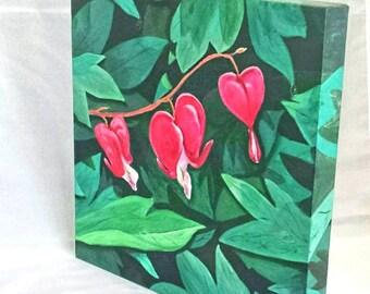 Painting original wild flowers Bleeding Hearts wall art Chattanooga scenes 12x12x 1 1/2 canvas art scene beautiful crisp artbyevelynmarie