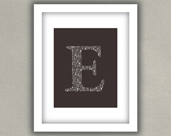 Customized Monogram Art Print - Initial Letter Wall Decor - Charcoal Gray and White