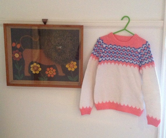 1970s girls sweater knitted nordic style pink hand knit age 5 or 6 approx