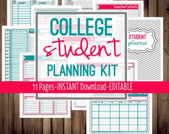 50% OFF College Student Planner-College Planner-School Planner-Standard Size-8 1/2 x 11 inch-11 Sheets-Chevron-INSTANT&EDITABLE