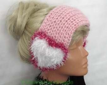 Wide Headband  Hand Knitted With Hearts Pink White Red