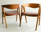 Set of Two Vintage Danish Modern Teak and Leather Chairs by Erik Kirkegaard for Dux -Stunning Extra Large Mid Century Teakwood Chairs