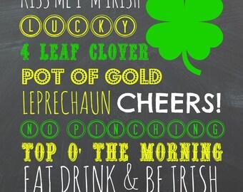 8X10 Saint Patrick's Day Chalkboard Printable