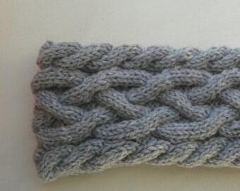 Hand Knitted Cable Headband Chunky Headband Ear Warmer in Gray