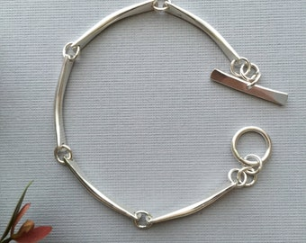 Sterling Silver Links - Artisan Bracelet - Handmade - Minimalist - Modern Artisan Jewelry - Hand Forged - Textured -Sterling Link Bracelet