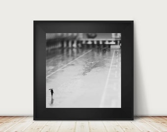 venice photograph, black and white photography, empty, wet, rain, umbrella, venice, italy, travel photograph, portrait, reflection