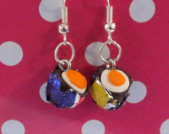 Retro Creme Egg drop earrings Quirky, fun, unique, handmade novel