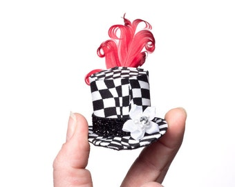Mini Top Hat Crazy Black and White Check Pattern Top Hat Embellished