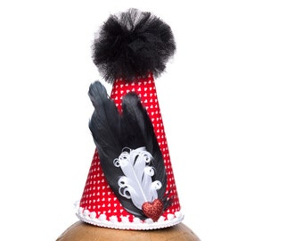 Clown Hat Red Hearts With Black and White Accents