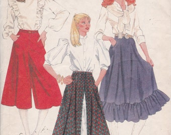 McCalls 8101 Vintage Pattern Womens Skirts and Culottes Size 6