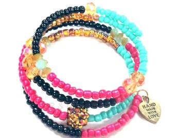 Memory Wire Bracelet, Coil Wrap Bracelet, Memory Wire Wrap, Handmade bracelet, Beaded Jewelry, Women's Jewelry, Women's Bracelet