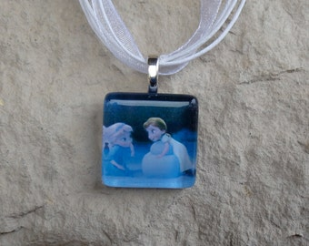 The Princess Collection Young Elsa and Anna from Frozen Glass Pendant and Ribbon Necklace