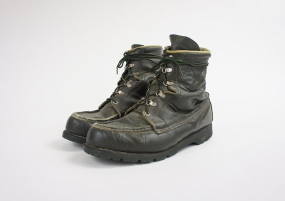 s black leather lace up work boots vintage size 10 ee
