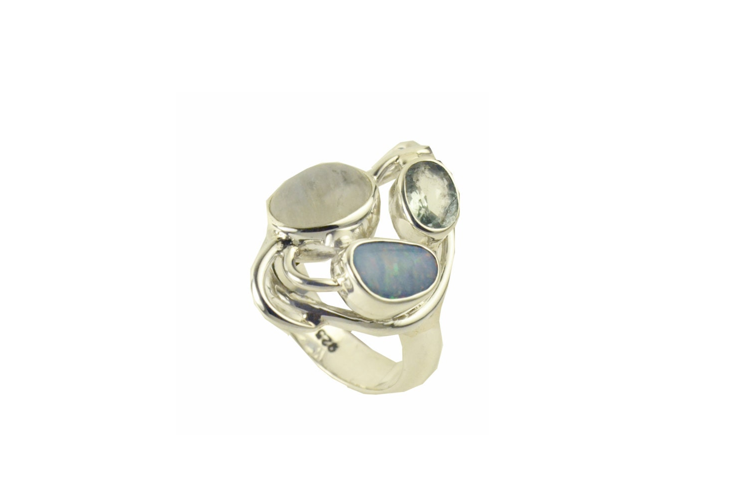 krasivaya ring australian opal moonstone and aquamarine