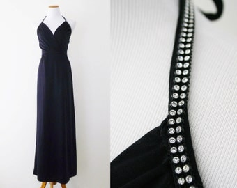 Vintage Gown - Lilli Diamond, Column Gown, Rhinestone Trim, 1970s, Halter Neck
