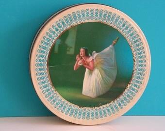 Vintage retro cookie jar round tin box ballet  ballerina