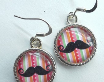 Moustache earrings Kawaii glass dome dangle jewelry 1890s barbershop handmade Kitsch Accessories