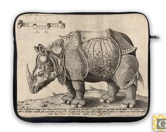Rhinoceros Antique Print iPad Case, Laptop Bag, Laptop Sleeve, Laptop Case, iPad Sleeve, MacBook Case, Tablet Case - Rhino 1500's