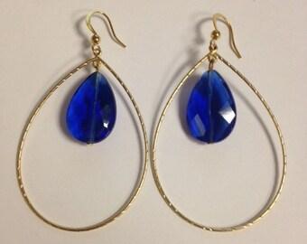 Cobalt Blue & Gold Teardrop Earrings
