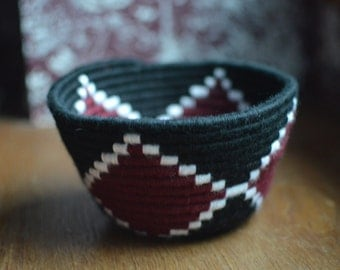 Black, White, Red Hand-Woven Basket