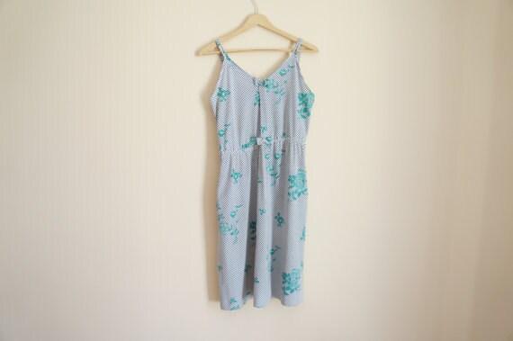 Vintage Summer Dress / Vintage Polka Dots Dress / Floral Dress