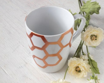 Gold Honeycomb Porcelain Mug // honey bee motif // antique gold or rose gold