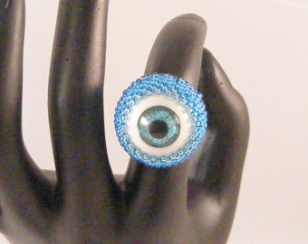 Blue Eyeball Ring, Blue Seed Bead Setting, Silver Tarnish Resistant Ring - Size 7